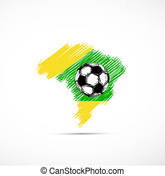 Brazil vector illustration map with soccer ball  easy all editable