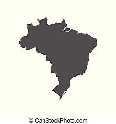 Brazil vector map. Black icon on white background.