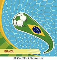Brazil waving flag and soccer ball in goal net