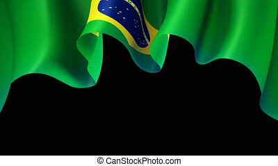 Brazil waving flag for banner design. Animated background - brazil waving national flag. Festive patriotic design. Brazilian holidays. Seamless loop. Alpha channel