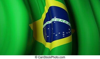 Brazil waving flag for banner design. Animated background - brazil waving national flag. Festive patriotic design. Brazilian holidays. Seamless loop