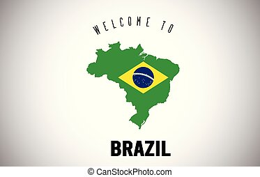 Brazil Welcome to Text and Country flag inside Country border Map Vector Design.
