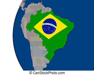 Brazil with national flag