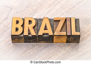Brazil word in vintage wood type