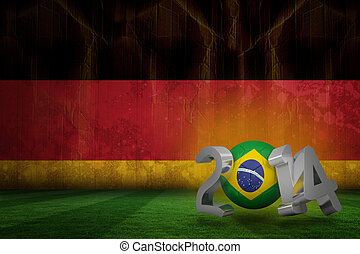 Brazil world cup 2014 against germany flag in grunge effect