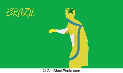 Brazil world cup 2014 animation with player in green and...