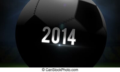 Brazil world cup 2014 animation with football on black...