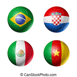 Brazil world cup 2014 group A flags on soccer balls - 3D...