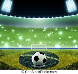 Soccer ball on penalty disk in the Brasilian night stadium