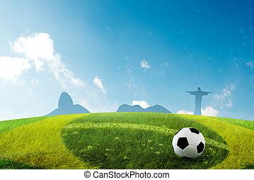 The soccer field with Brazilian skyline background