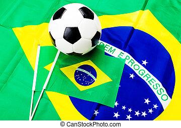 brazil zászló, és, focilabda