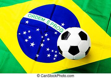 brazil zászló, noha, focilabda