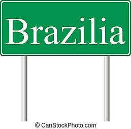 Brazilia green road sign isolated on white background