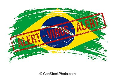 Brazilia torn flag with a stamp with the words alert virus, ...
