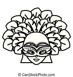 braziliaans, garota, mooi, hoofd, karakter