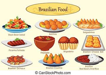 braziliaans, heerlijk, verzameling, voedingsmiddelen