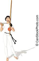 braziliaans, vrouw, spelend, capoeira
