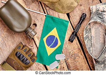Brazilian army equipment flat lay.