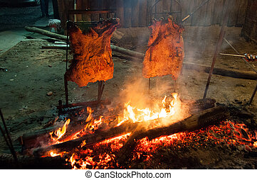 Brazilian Barbecue also known as Churrasco made by Gauchos,...