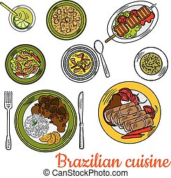 Brazilian barbeque dinner with lime cocktail icon
