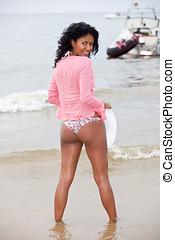 Brazilian beauty - Beautiful brazilian girl standing by the...