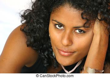 Brazilian beauty - Beautiful brazilian woman on white...