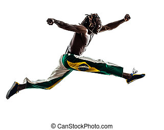 Brazilian black man running jumping silhouette - one...