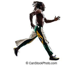 Brazilian  black man running jumping silhouette