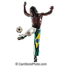 brazilian  black man soccer player juggling football