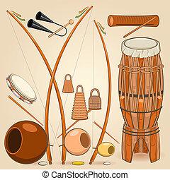 Brazilian Capoeira Music Instruments Such as Berimbau,...