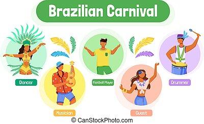 Brazilian carnival flat color vector informational ...