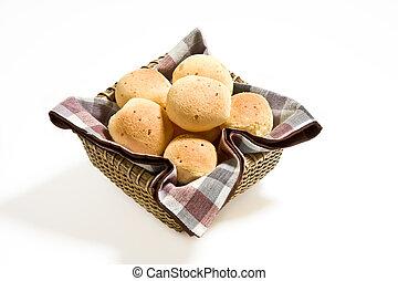 Brazilian cheese buns. - Brazilian cheese buns in a basket.