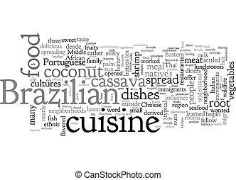 Brazilian Cuisine text background wordcloud concept