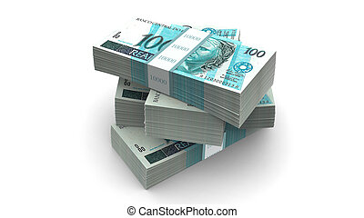 Brazilian currency pack (with clipping path)