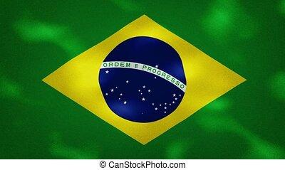 Brazilian dense flag fabric wavers, background loop - Brazil...