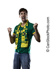 Brazilian Fan Celebrating, on a white background.