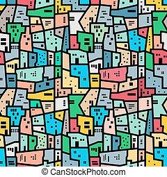 Brazilian favela. Bright colored seamless pattern. Vector...