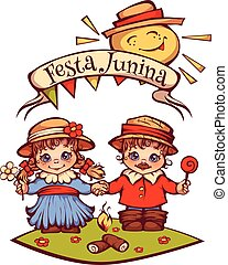Brazilian Festa Junina Party girl and boy with ribbon banner. Vector illustration