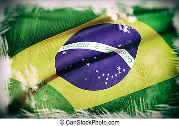 3d rendering of an old and dirty brazil flag