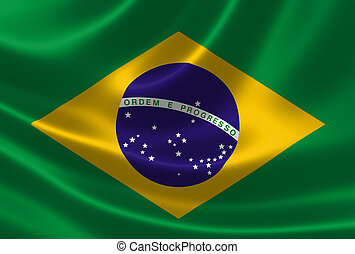 3D rendering of the Brazilian flag in satin texture.