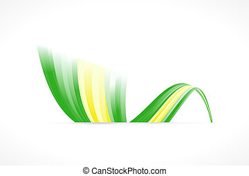 Abstract Brazilian waving flag isolated on white background