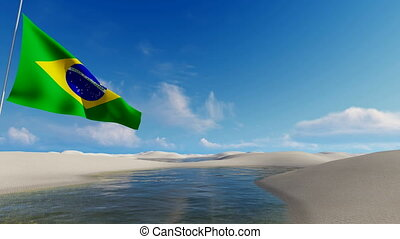 Brazilian flag against sandy dunes 4K - Brazilian flag,...
