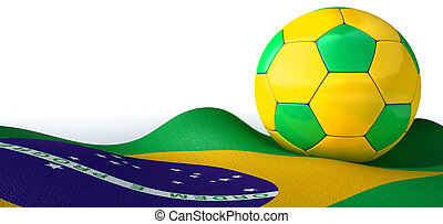 A regular stitched panel soccer ball in the iconic brazilian colors of green blue and yellow resting on a draped brazilian flag on an isolated white studio background