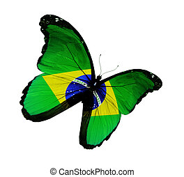 Brazilian flag butterfly flying, isolated on white background