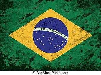 Brazilian flag Grunge background.