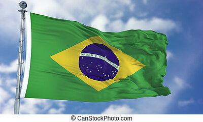 Brazilian Flag in a Blue Sky