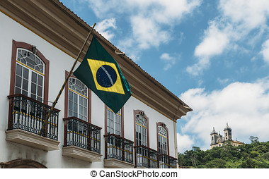 Brazilian flag in Ouro Preto, Brazil