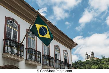 Brazilian flag in Ouro Preto, Brazil