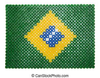Brazilian Flag made of plastic pearls