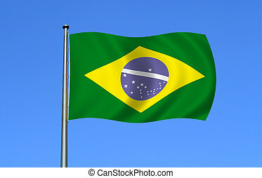 Brazilian flag moving with the wind